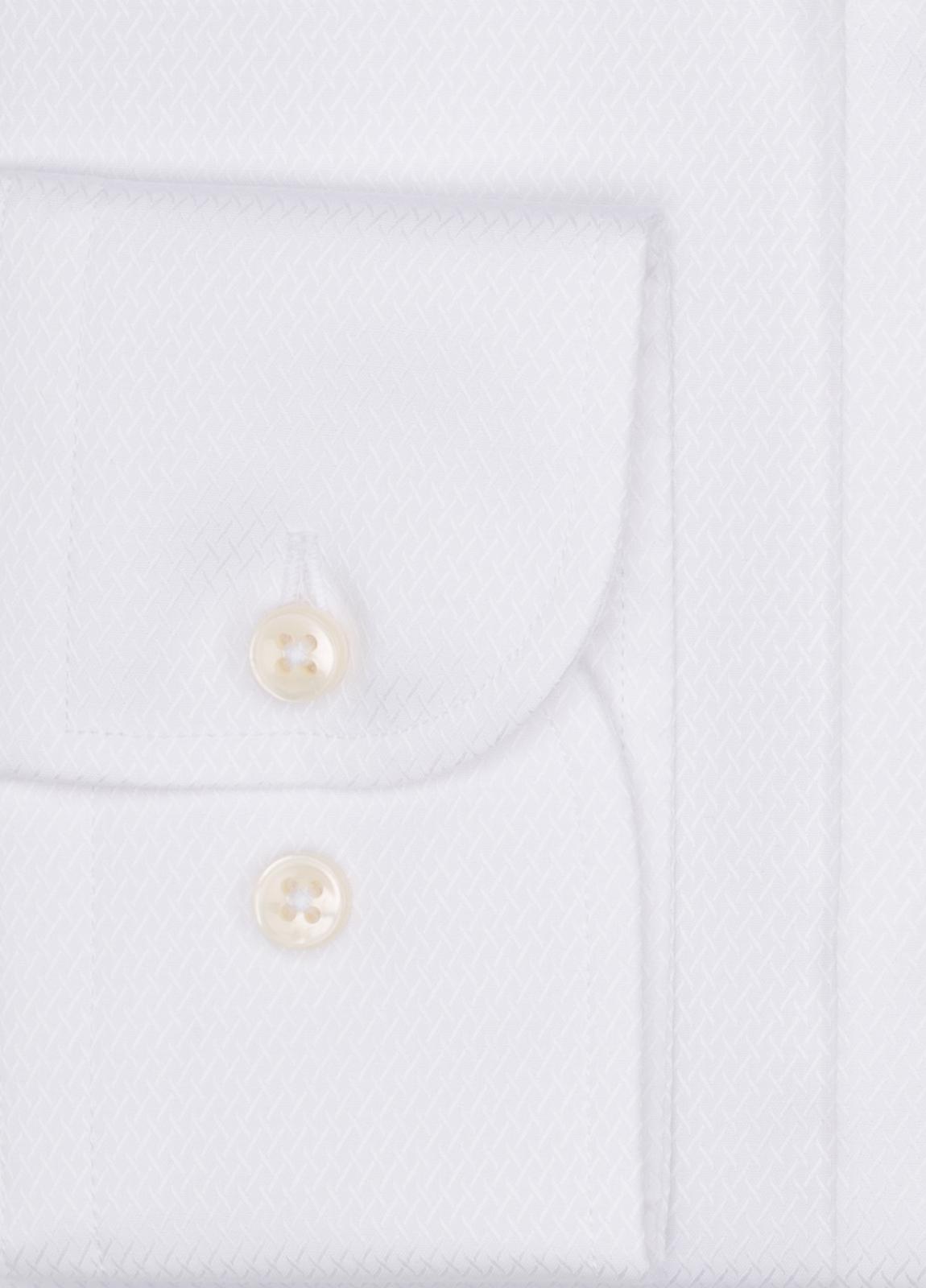 Camisa Formal Wear SLIM FIT cuello italiano modelo ROMA tejido micrograbado color blanco, 100% Algodón. - Ítem1