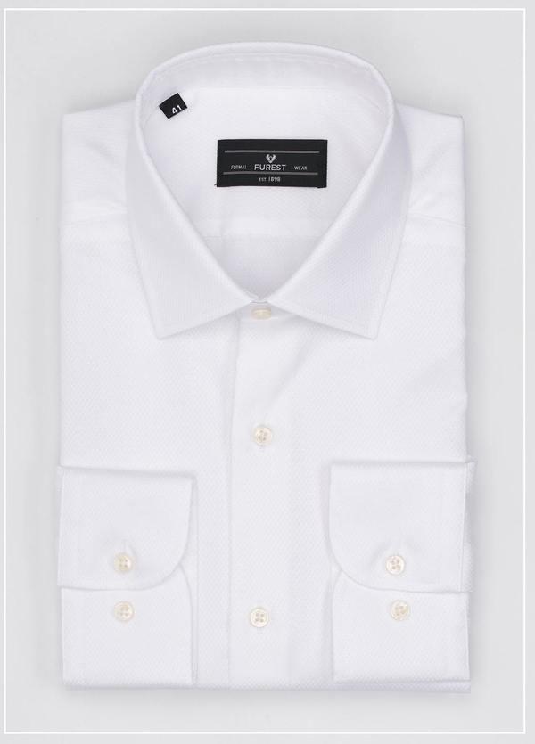 Camisa Formal Wear SLIM FIT cuello italiano modelo ROMA tejido micrograbado color blanco, 100% Algodón.