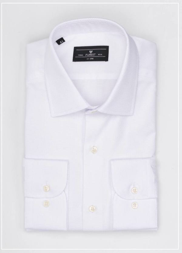 Camisa Formal Wear SLIM FIT cuello italiano modelo ROMA tejido micrograbado color blanco, 100% Algodón.