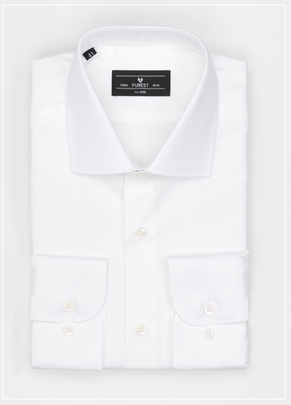 Camisa Formal Wear REGULAR FIT cuello italiano modelo TAILORED NAPOLI micro textura color blanco, 100% Algodón.