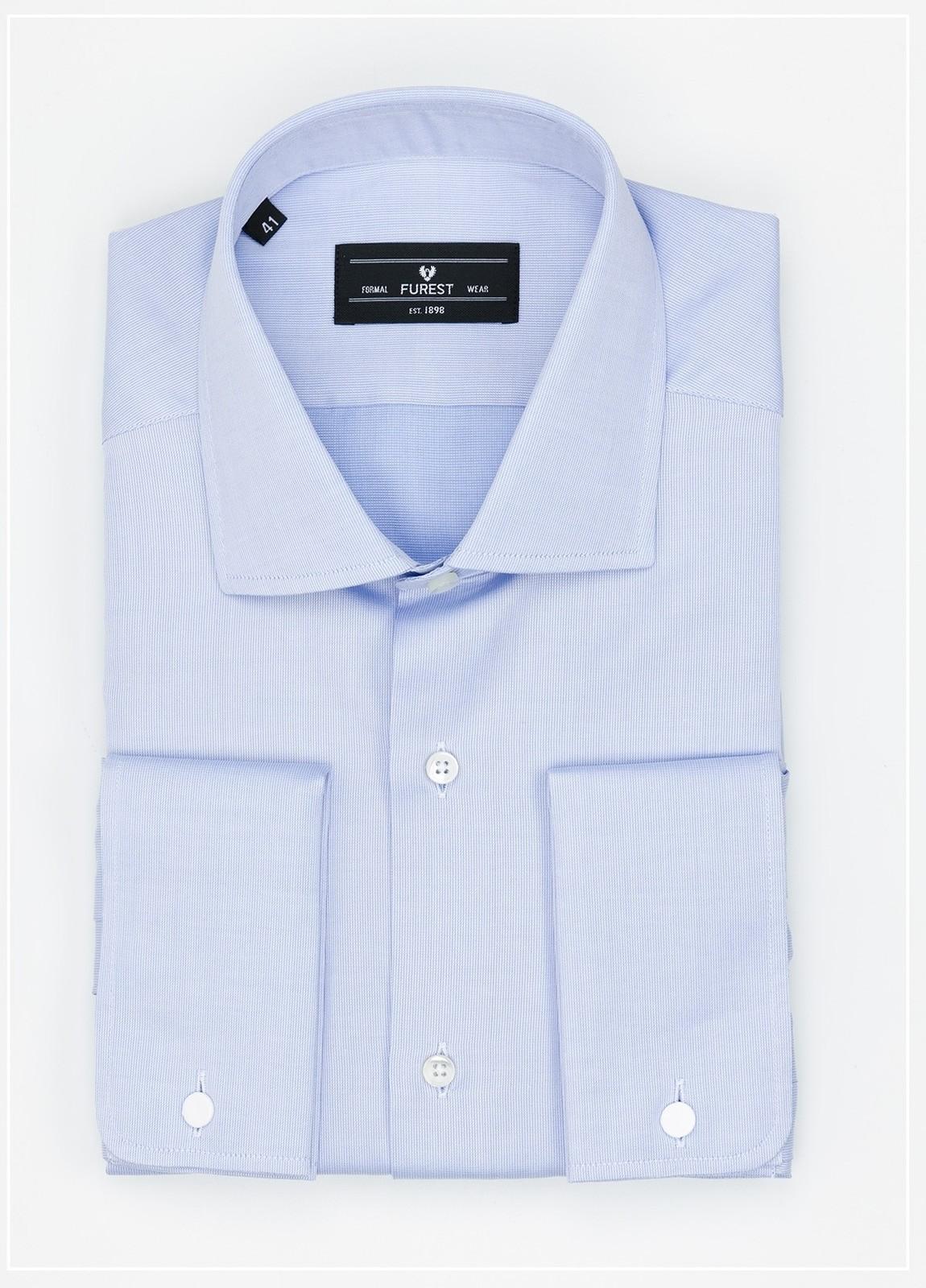 Camisa Formal Wear REGULAR FIT cuello Italiano y puño doble modelo TAILORED NAPOLI Tejido micro grabado color azul, 100% Algodón.