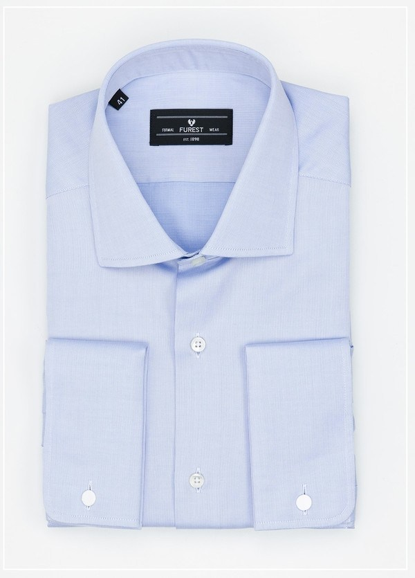 Camisa Formal Wear REGULAR FIT cuello Italiano y puño doble modelo TAILORED NAPOLI Tejido micro grabado color azul, 100% Algodón.