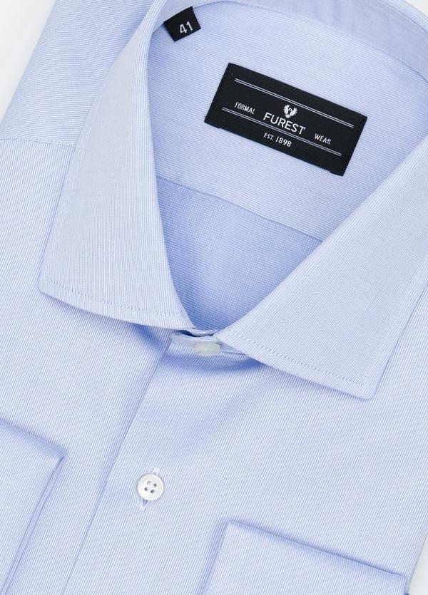 Camisa Formal Wear REGULAR FIT cuello Italiano y puño doble modelo TAILORED NAPOLI Tejido micro grabado color azul, 100% Algodón. - Ítem1