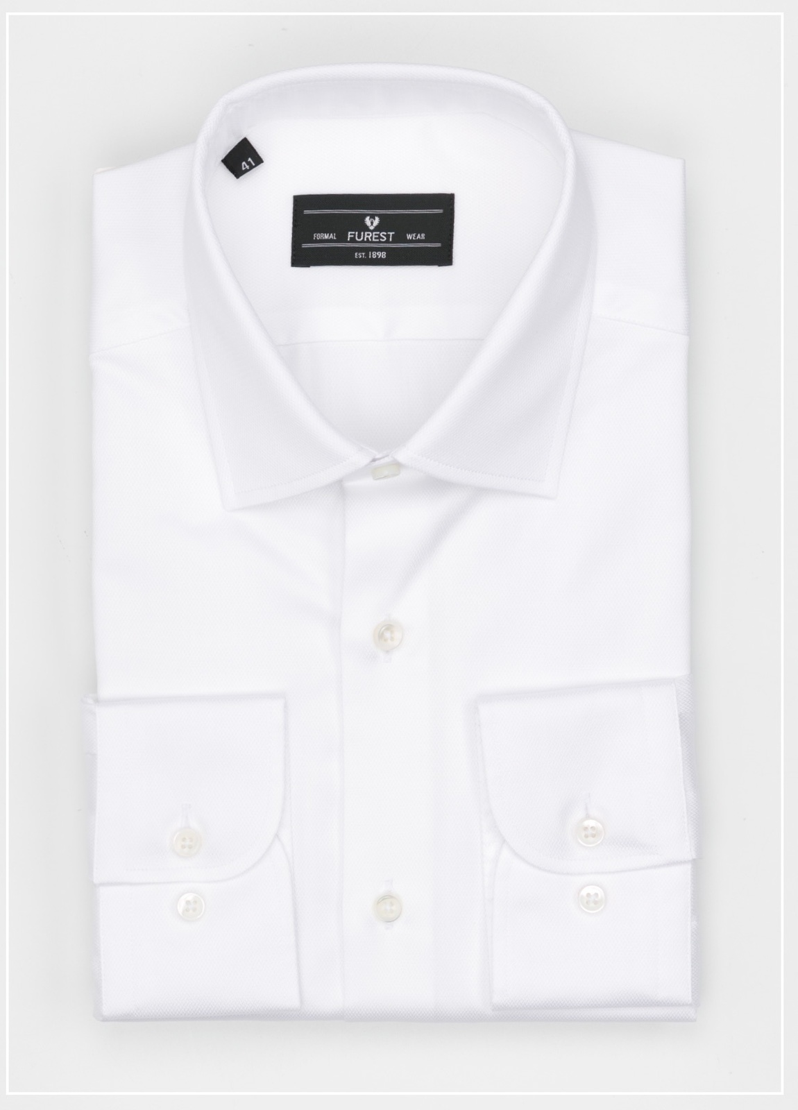 Camisa Formal Wear SLIM FIT cuello italiano modelo ROMA microtextura color blanco, 100% Algodón.