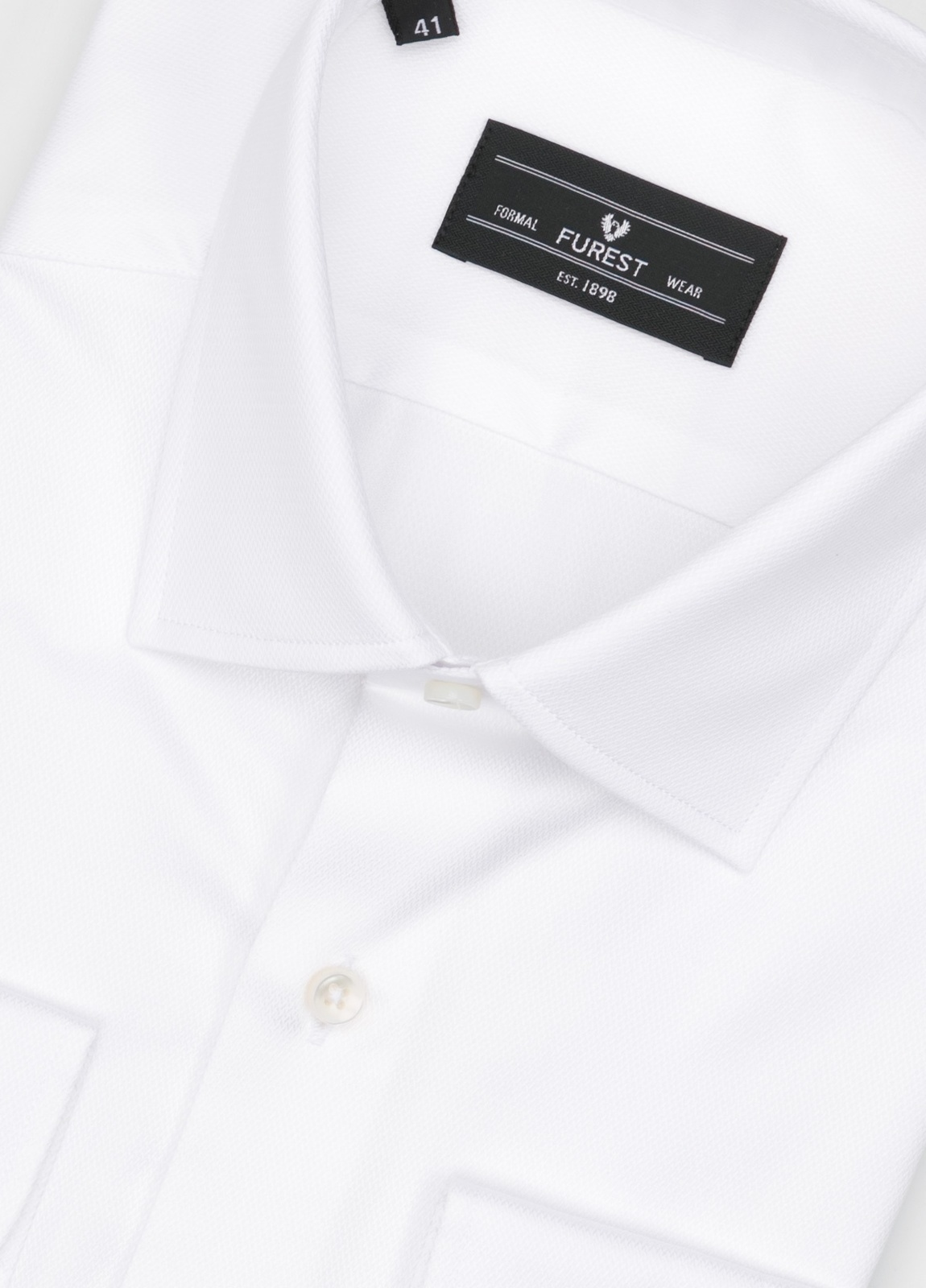 Camisa Formal Wear SLIM FIT cuello italiano modelo ROMA microtextura color blanco, 100% Algodón. - Ítem1