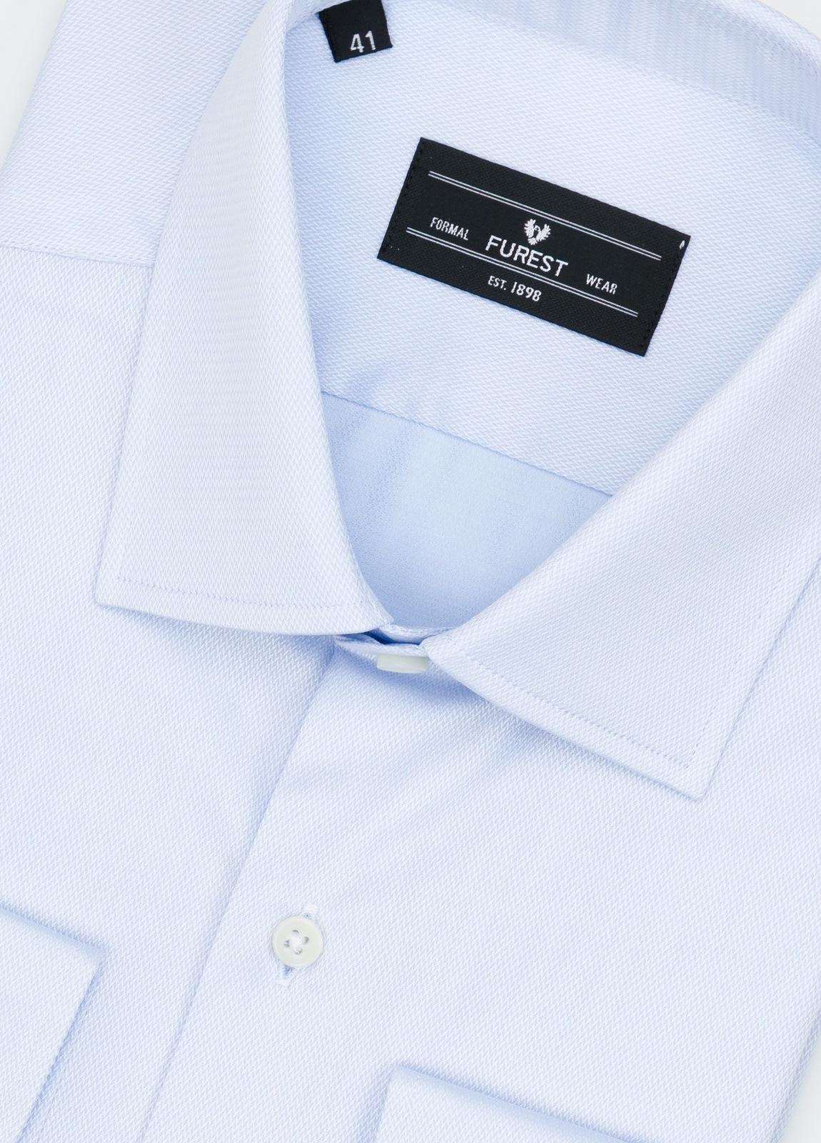 Camisa Formal Wear SLIM FIT cuello italiano modelo ROMA microtextura color celeste, 100% Algodón. - Ítem2
