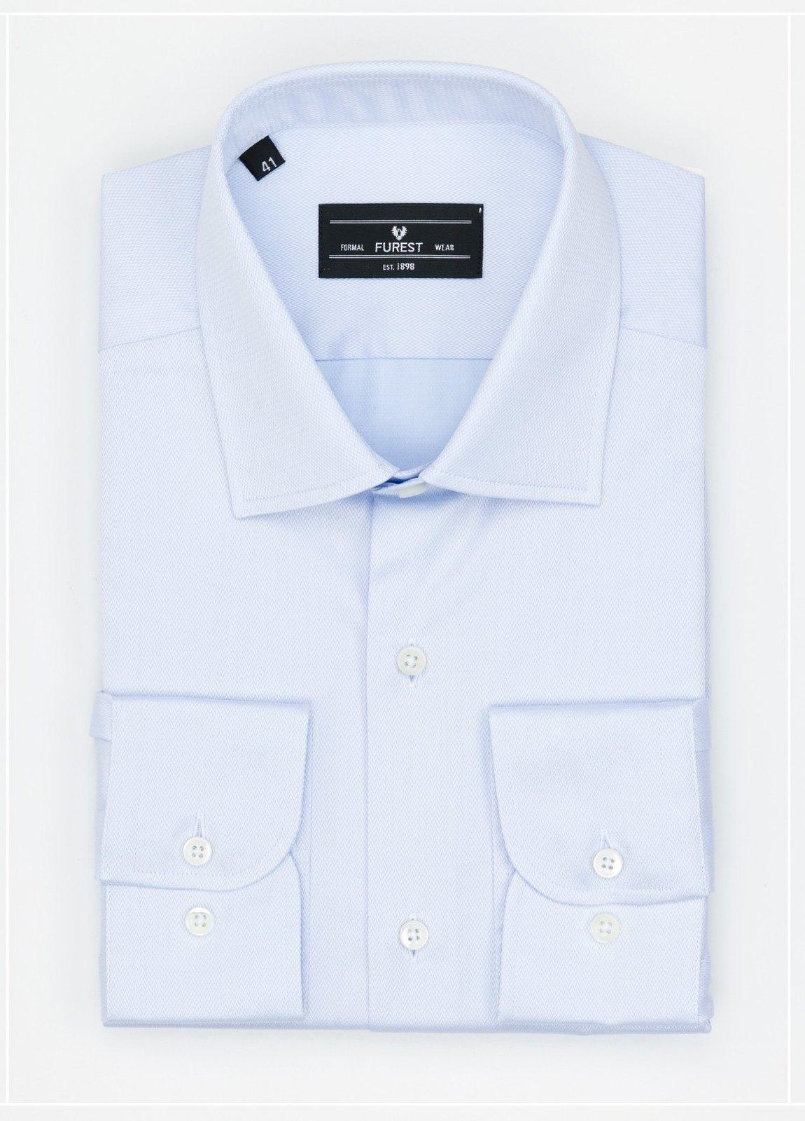 Camisa Formal Wear SLIM FIT cuello italiano modelo ROMA microtextura color celeste, 100% Algodón.