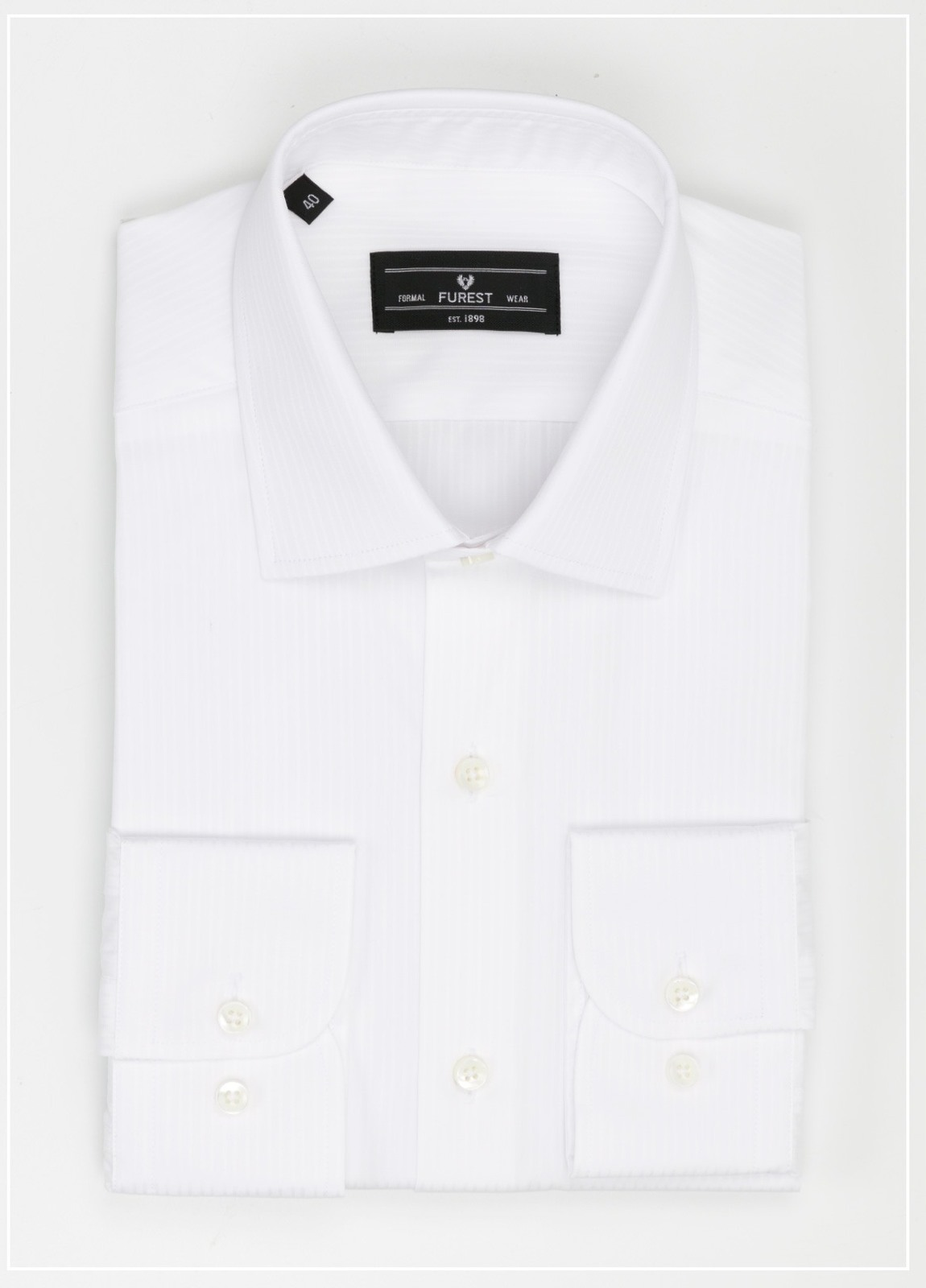 Camisa Formal Wear SLIM FIT cuello italiano modelo ROMA micro raya color blanco, 100% Algodón.