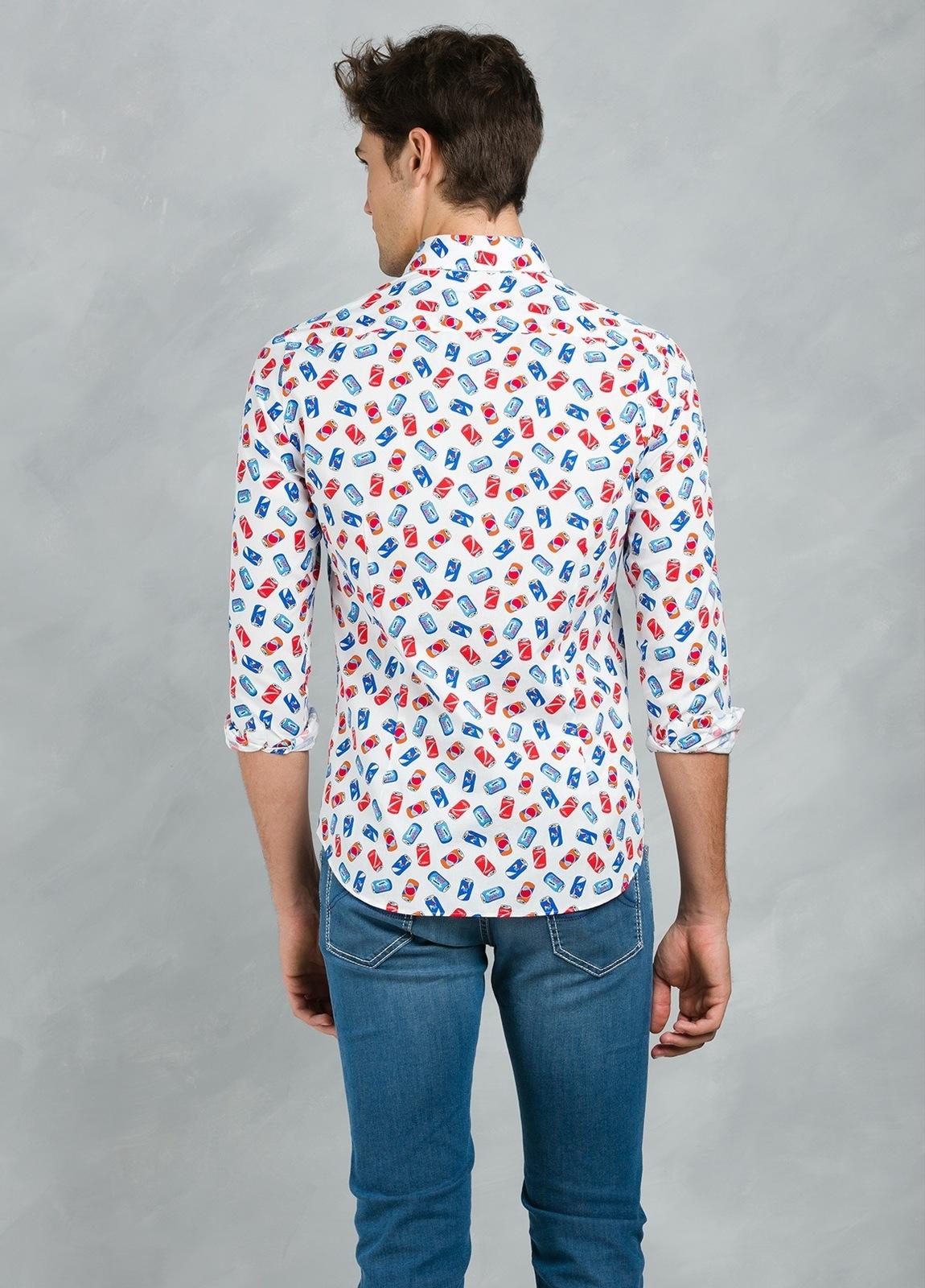 Camisa Leisure Wear SLIM FIT Modelo PORTO estampado fantasía,100% Algodón. - Ítem2