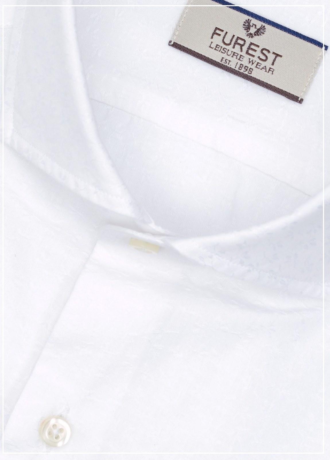 Camisa Leisure Wear SLIM FIT Modelo CAPRI diseño microdibujo color blanco,100% Algodón. - Ítem1