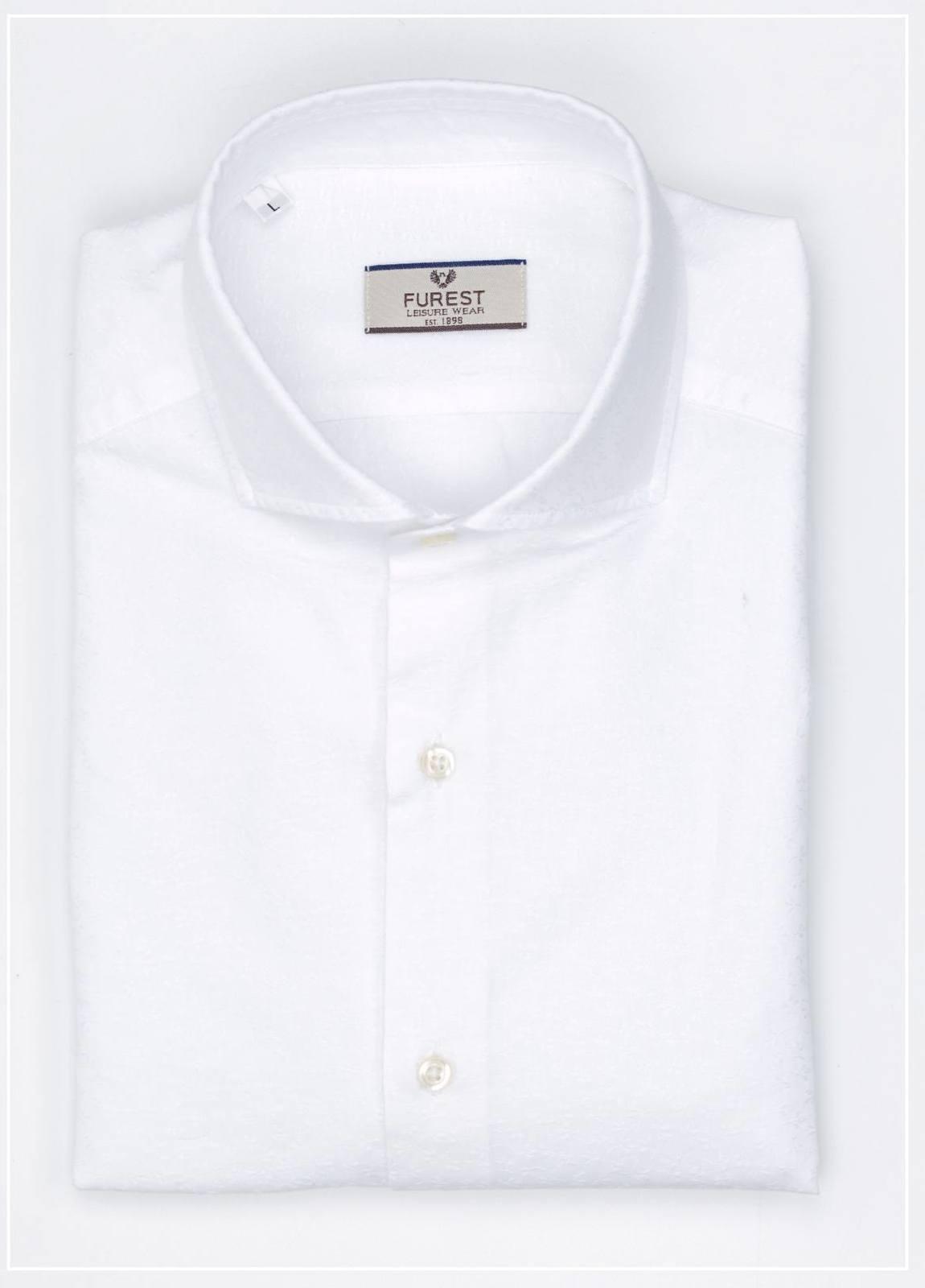 Camisa Leisure Wear SLIM FIT Modelo CAPRI diseño microdibujo color blanco,100% Algodón.