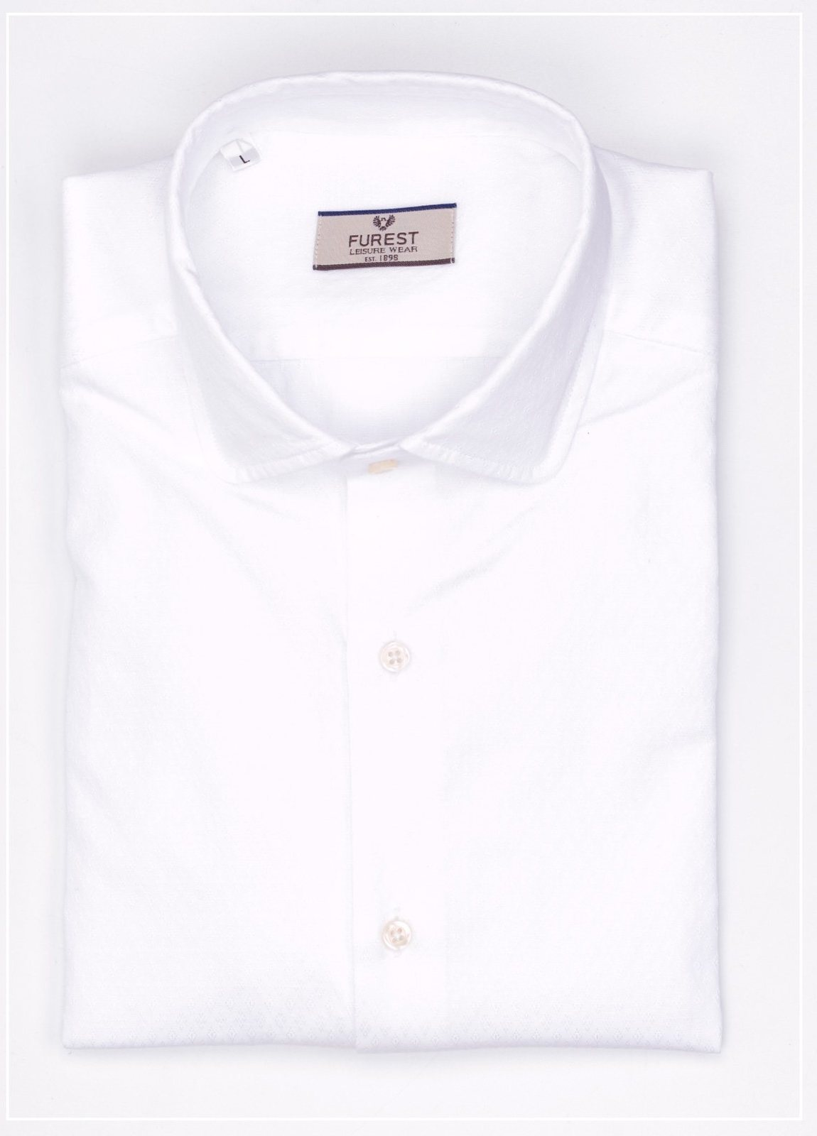 Camisa Leisure Wear SLIM FIT Modelo AMALFI diseño micrograbado color blanco,100% Algodón.
