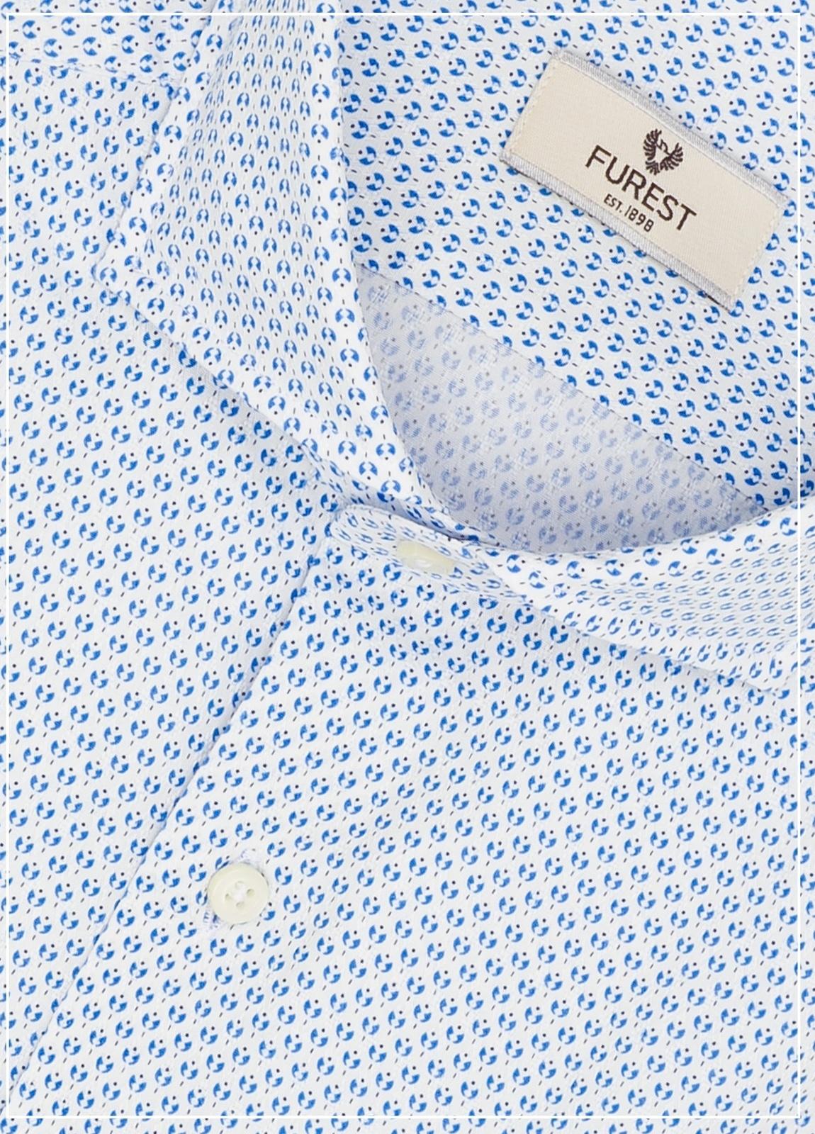 Camisa Leisure Wear SLIM FIT Modelo CAPRI diseño dibijo geométrico color celeste,100% Algodón. - Ítem1