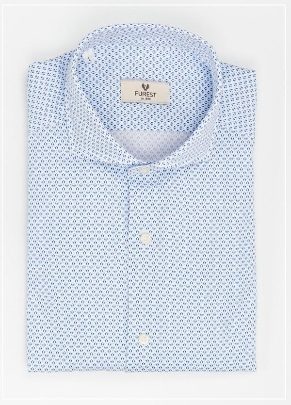 Camisa Leisure Wear SLIM FIT Modelo CAPRI diseño dibijo geométrico color celeste,100% Algodón.