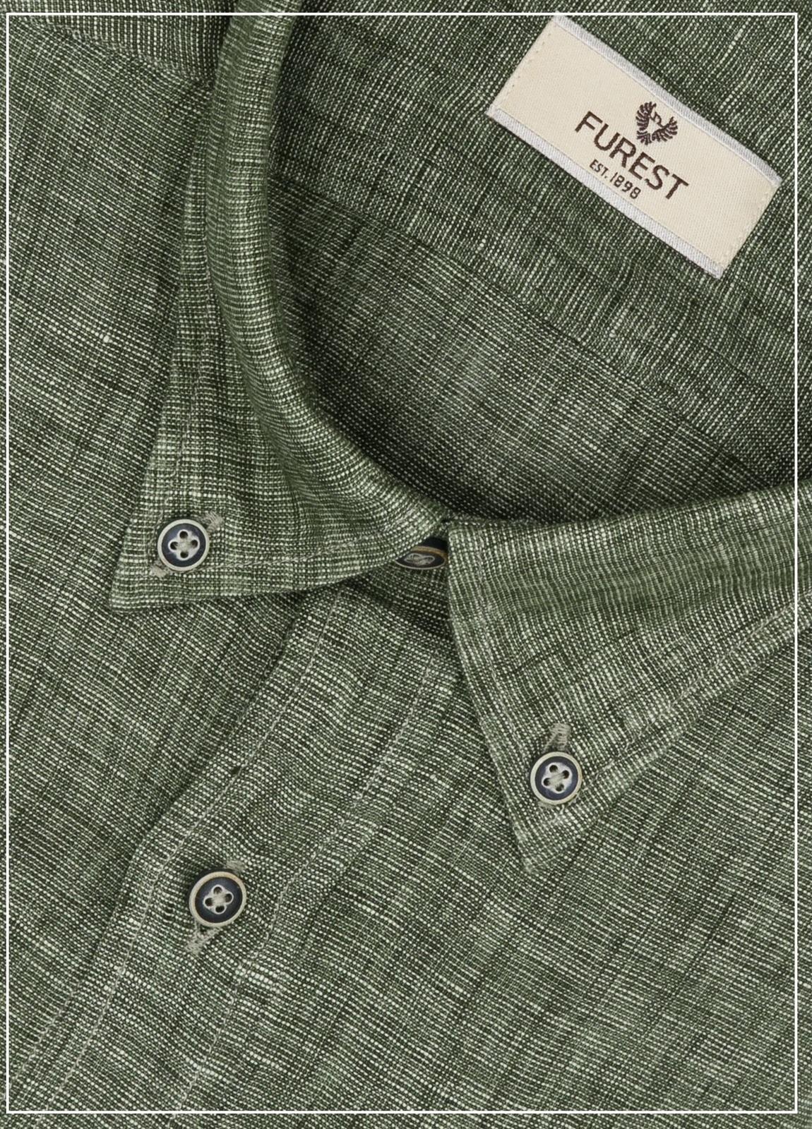 Camisa Leisure Wear REGULAR FIT Modelo BOTTON DOWN color verde, 100% Lino. - Ítem1