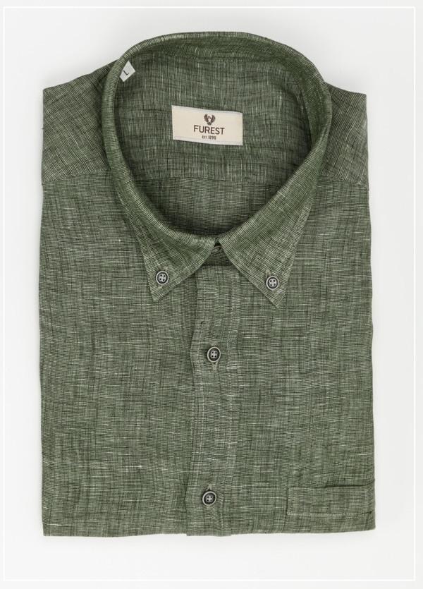 Camisa Leisure Wear REGULAR FIT Modelo BOTTON DOWN color verde, 100% Lino.