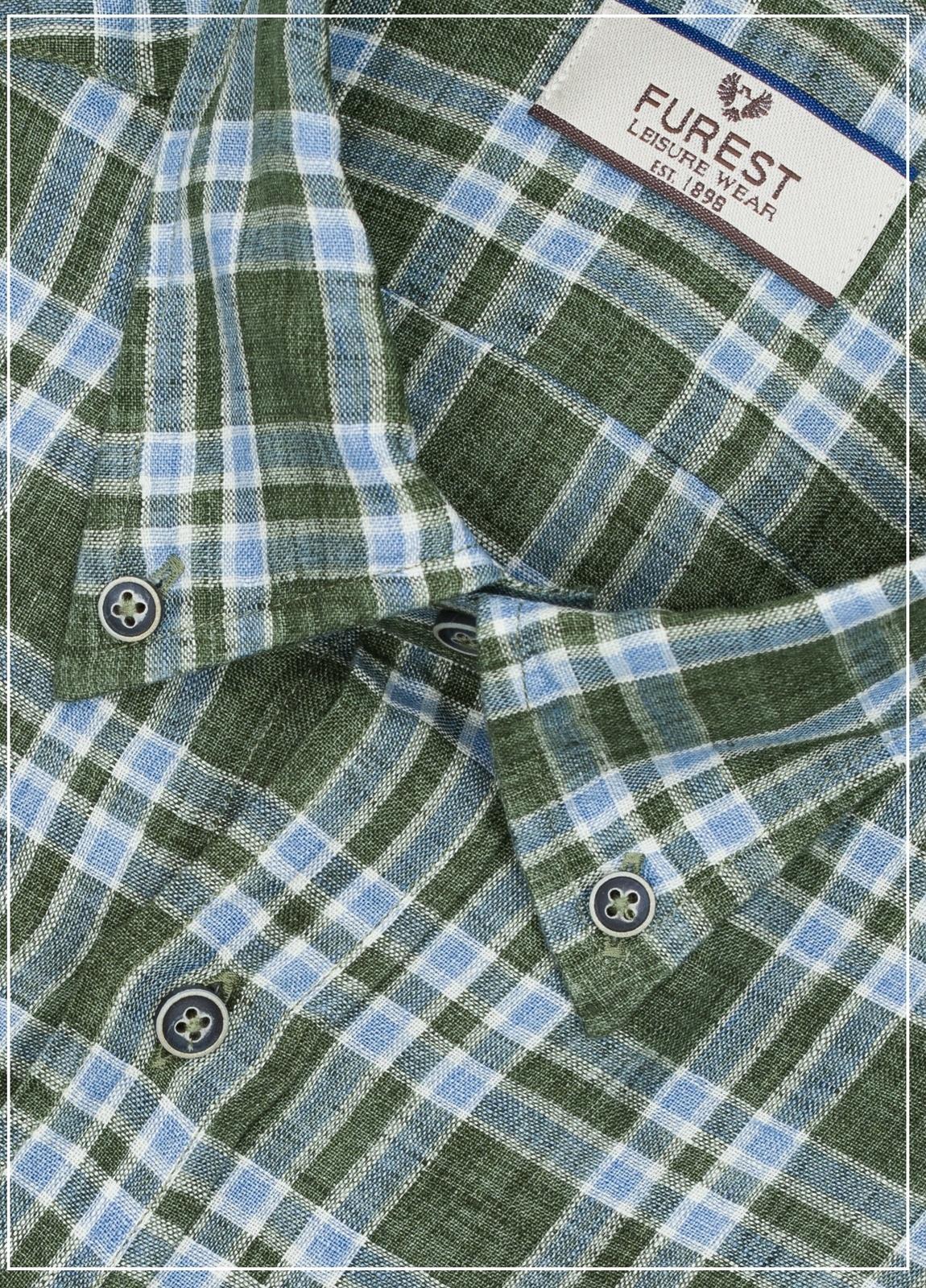Camisa Leisure Wear REGULAR FIT Modelo BOTTON DOWN estampado cuadros verdes , 100% Lino - Ítem3