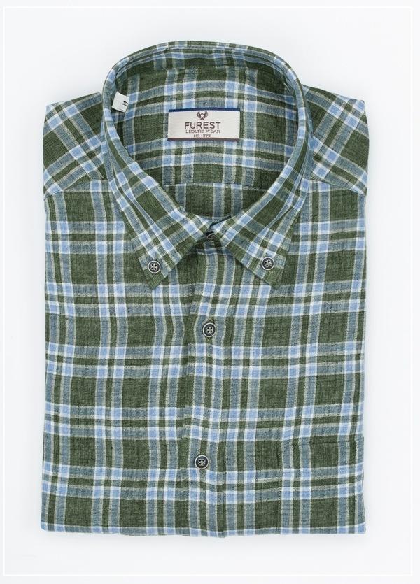 Camisa Leisure Wear REGULAR FIT Modelo BOTTON DOWN estampado cuadros verdes , 100% Lino - Ítem4