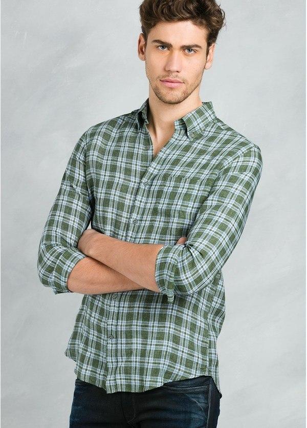 Camisa Leisure Wear REGULAR FIT Modelo BOTTON DOWN estampado cuadros verdes , 100% Lino