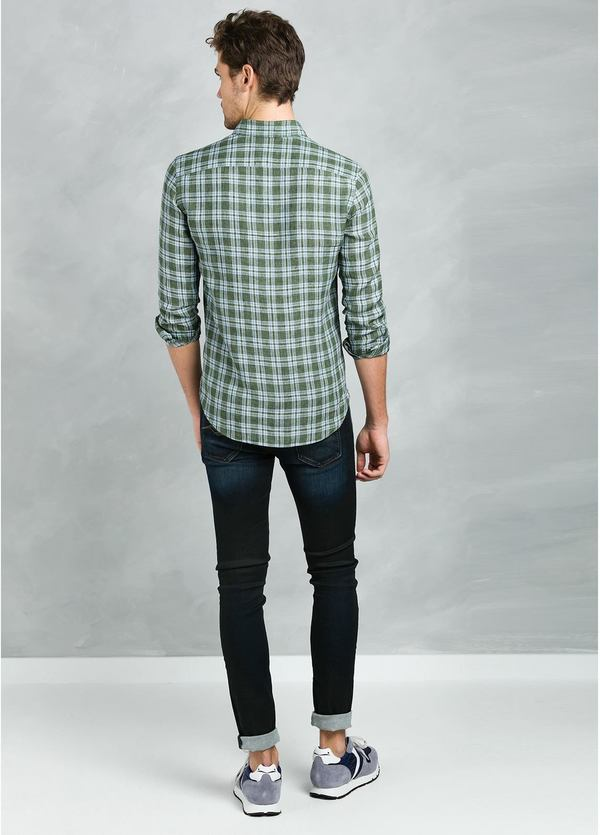 Camisa Leisure Wear REGULAR FIT Modelo BOTTON DOWN estampado cuadros verdes , 100% Lino - Ítem2