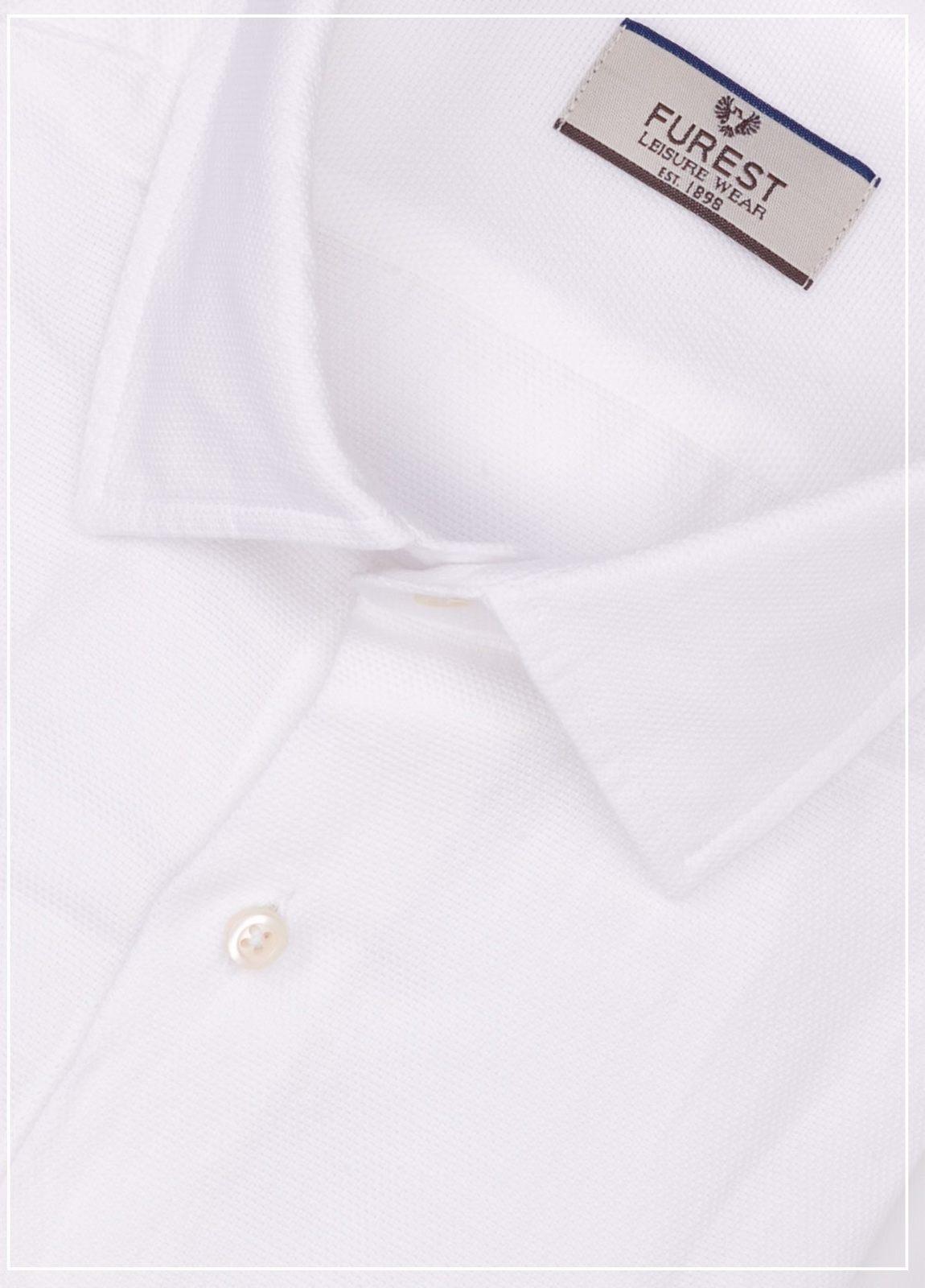 Camisa Leisure Wear REGULAR FIT tejido grabado color blanco, 57% lino 43% algodón. - Ítem1