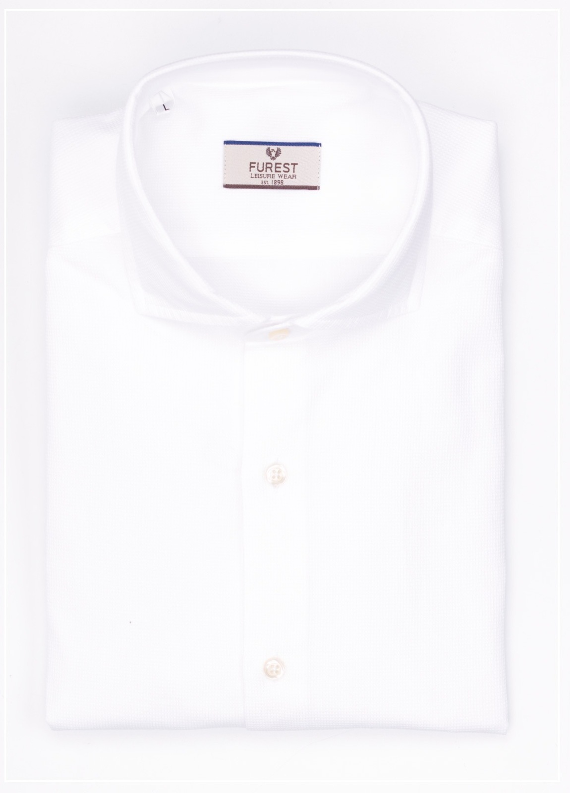 Camisa Leisure Wear SLIM FIT Modelo CAPRI tejido piqué color blanco,100% Algodón.
