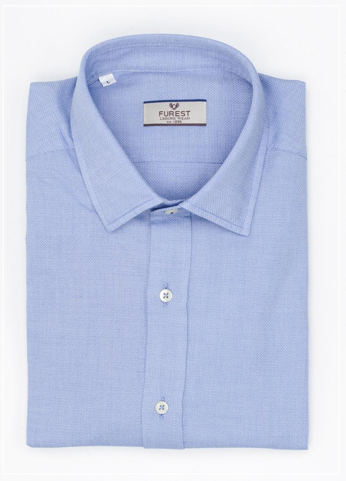 Camisa Leisure Wear REGULAR FIT modelo PORTO lisa color azul 100% Algodón.