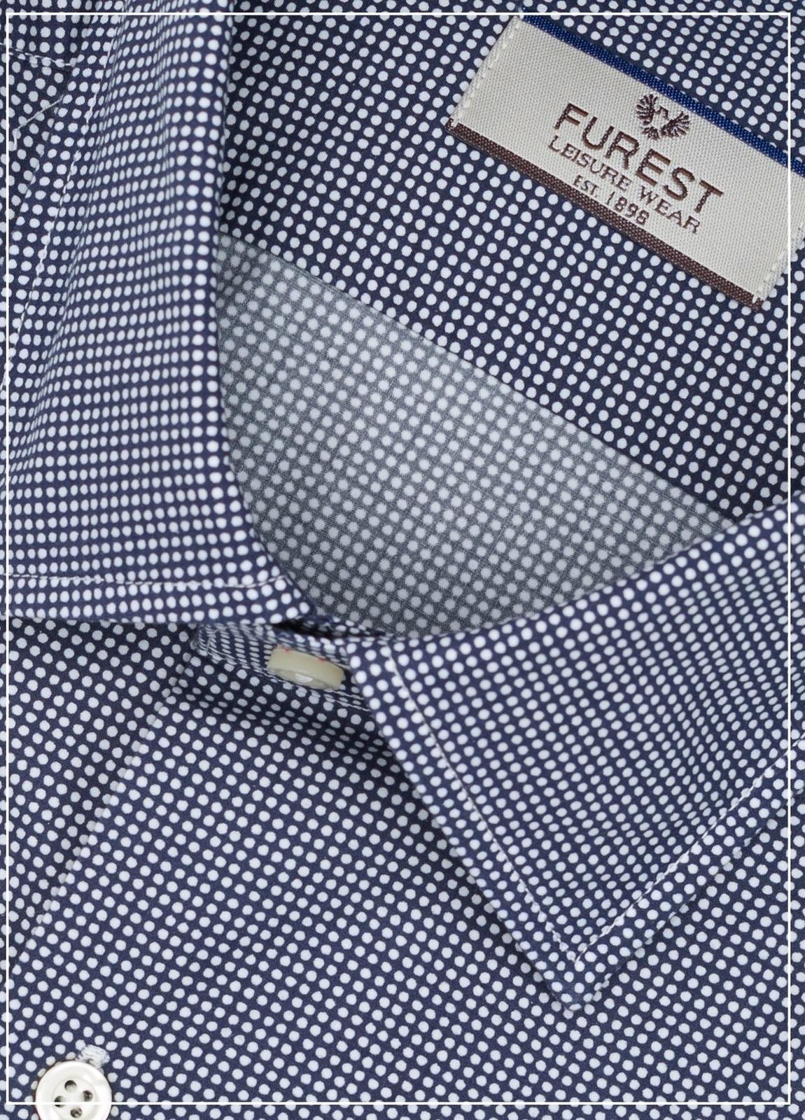 Camisa Leisure Wear SLIM FIT modelo PORTO microdibujo topos color azul marino,100% Algodón. - Ítem1