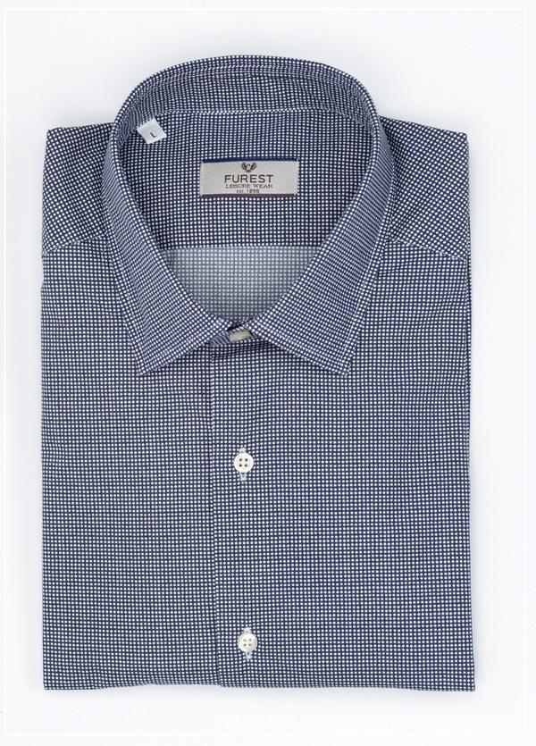 Camisa Leisure Wear SLIM FIT modelo PORTO microdibujo topos color azul marino,100% Algodón.