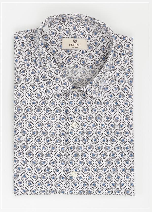 Camisa Leisure Wear SLIM FIT Modelo PORTO estampado floral color azul,100% Algodón.