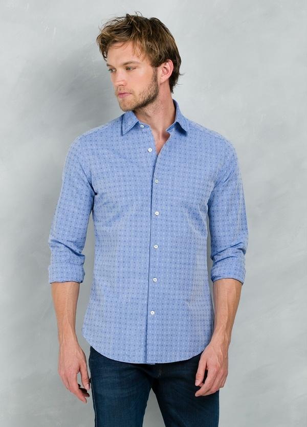 Camisa Casual Wear SLIM FIT Modelo PORTO micro dibujo color azul, 100% Algodón. - Ítem3
