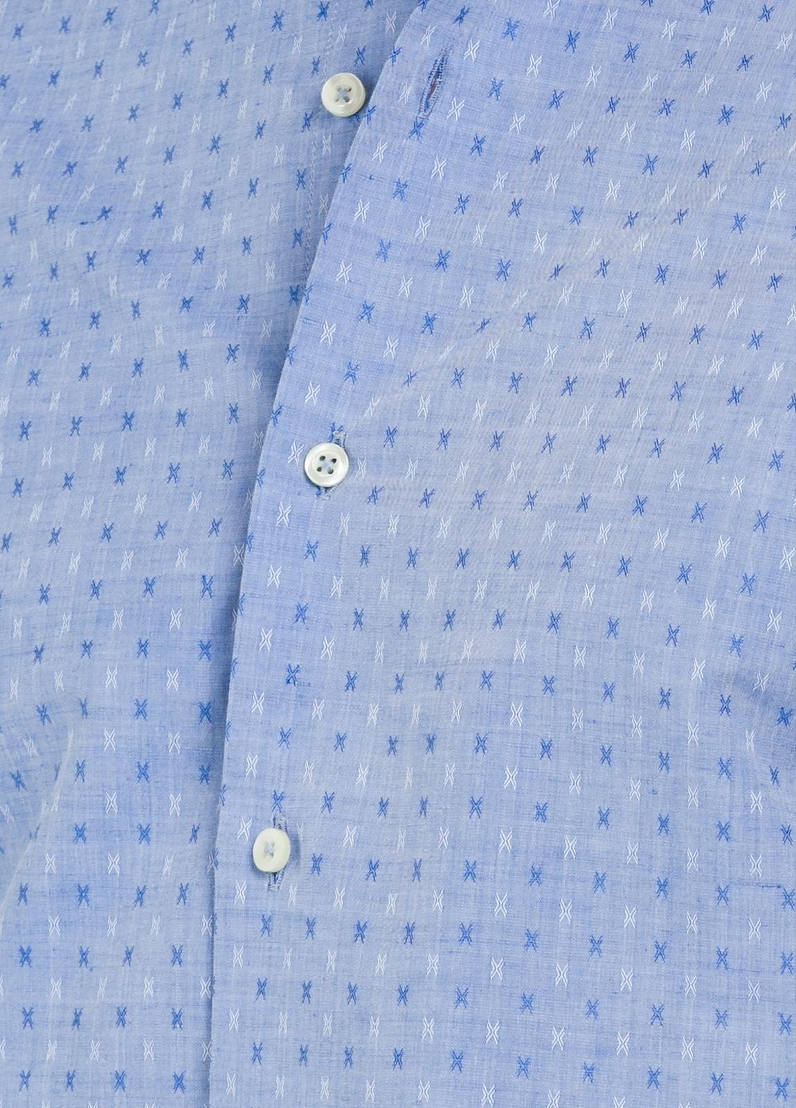 Camisa Casual Wear SLIM FIT Modelo PORTO micro dibujo color azul, 100% Algodón. - Ítem1