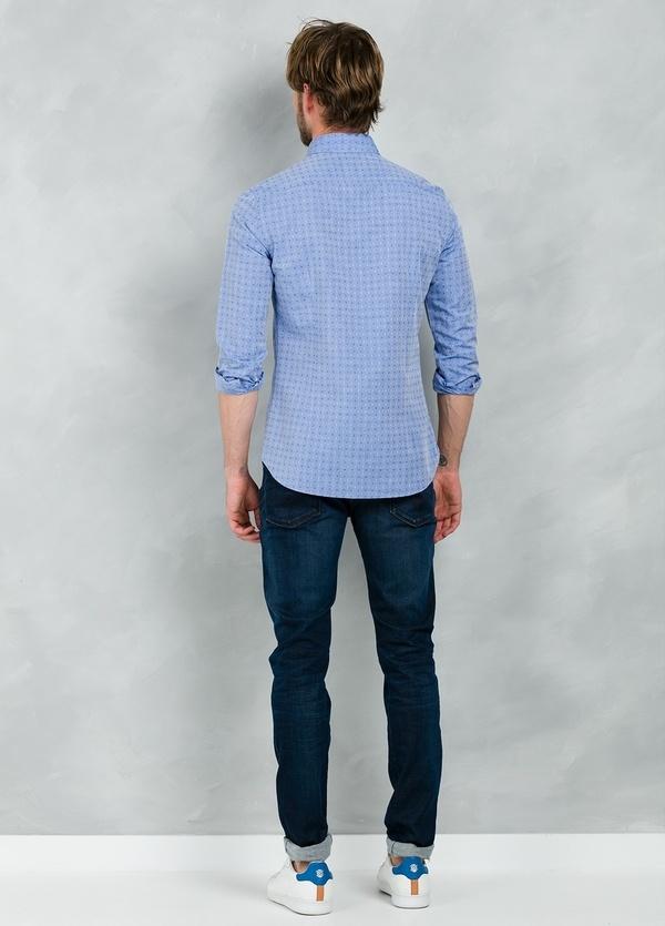 Camisa Casual Wear SLIM FIT Modelo PORTO micro dibujo color azul, 100% Algodón. - Ítem2