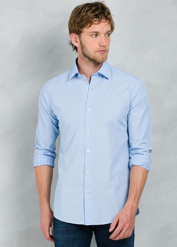 Camisa Casual Wear SLIM FIT Modelo PORTO micro dibujo color celeste, 100% Algodón. - Ítem2