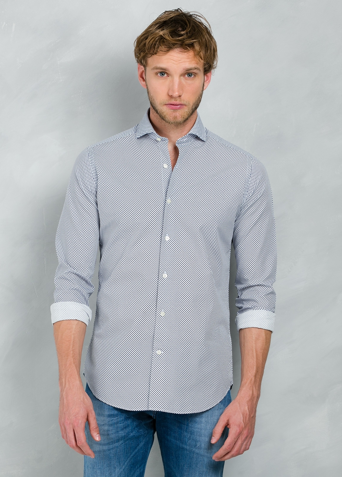 Camisa Casual Wear SLIM FIT Modelo CAPRI estampado lunar color azul, 100% Algodón. - Ítem2