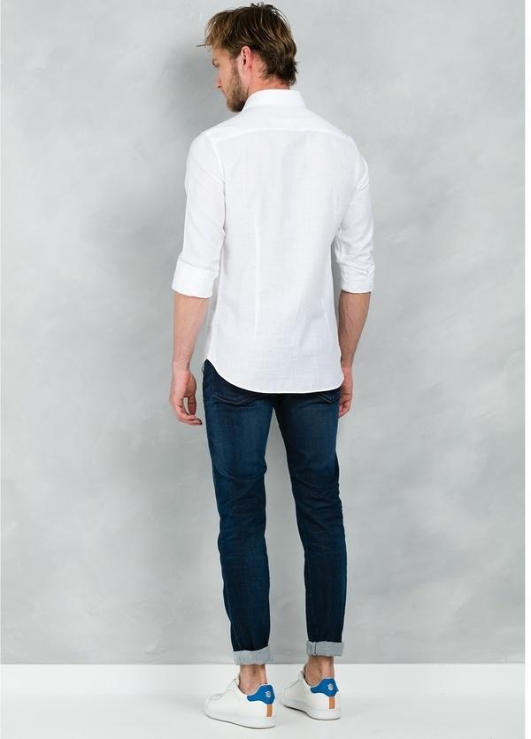 Camisa Casual Wear SLIM FIT Modelo PORTO lisa textura color blanco, 100% Algodón. - Ítem2