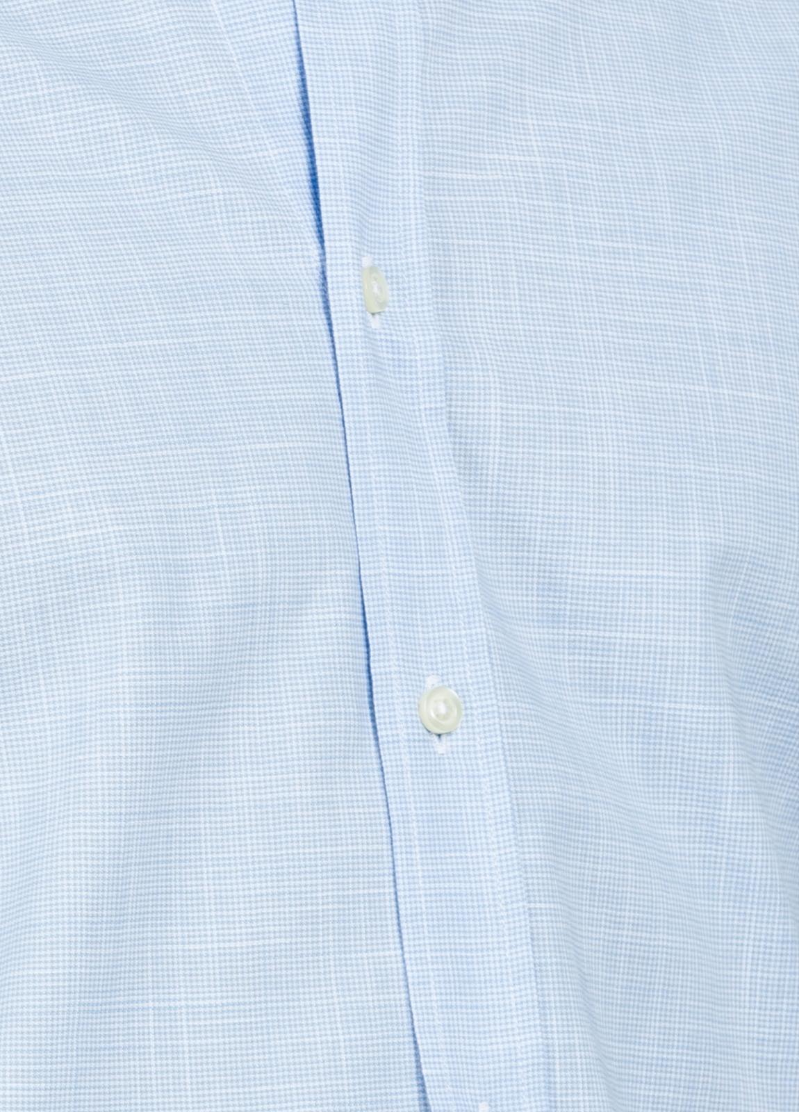 Camisa Casual Wear SLIM FIT Modelo BUTTON DOWN dibujo pata de gallo color celeste, 100% Algodón. - Ítem2