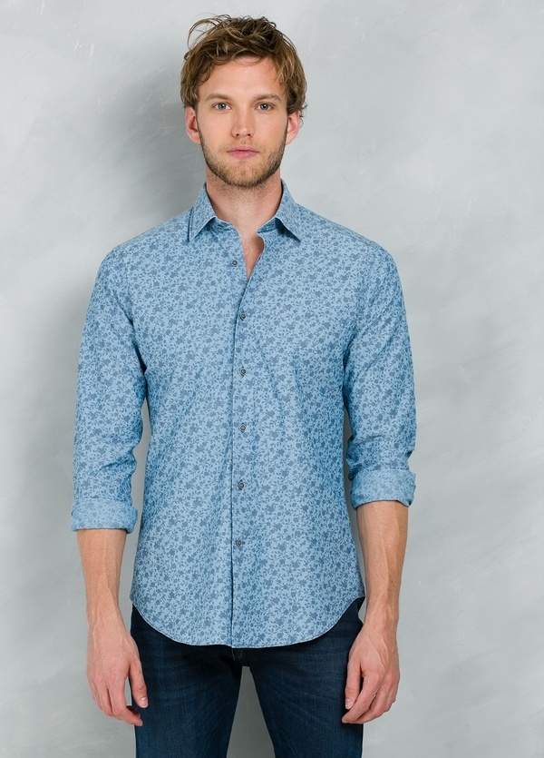 Camisa Casual Wear SLIM FIT Modelo PORTO estampado floral color azul, 100% Algodón. - Ítem3