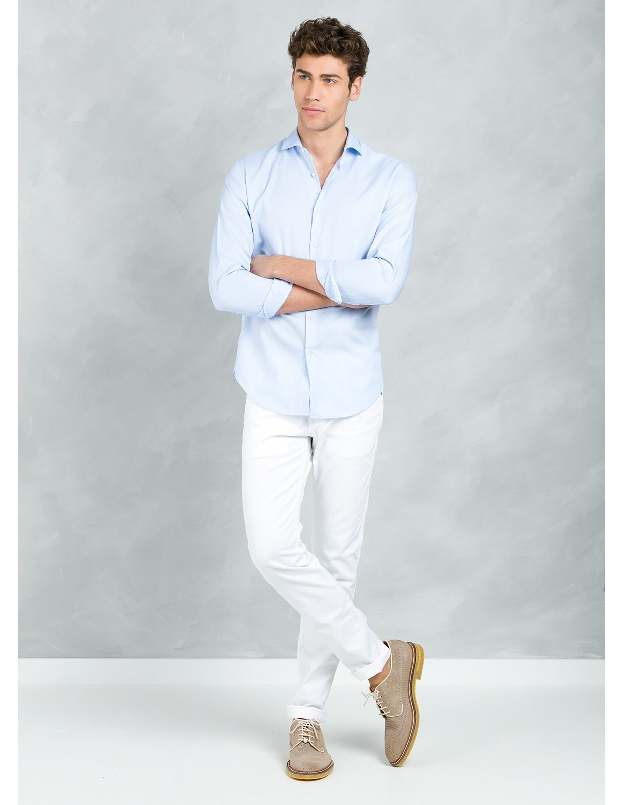 Camisa sport SLIM FIT modelo MATTIA RL, color azul, 100% Algodón. - Ítem1