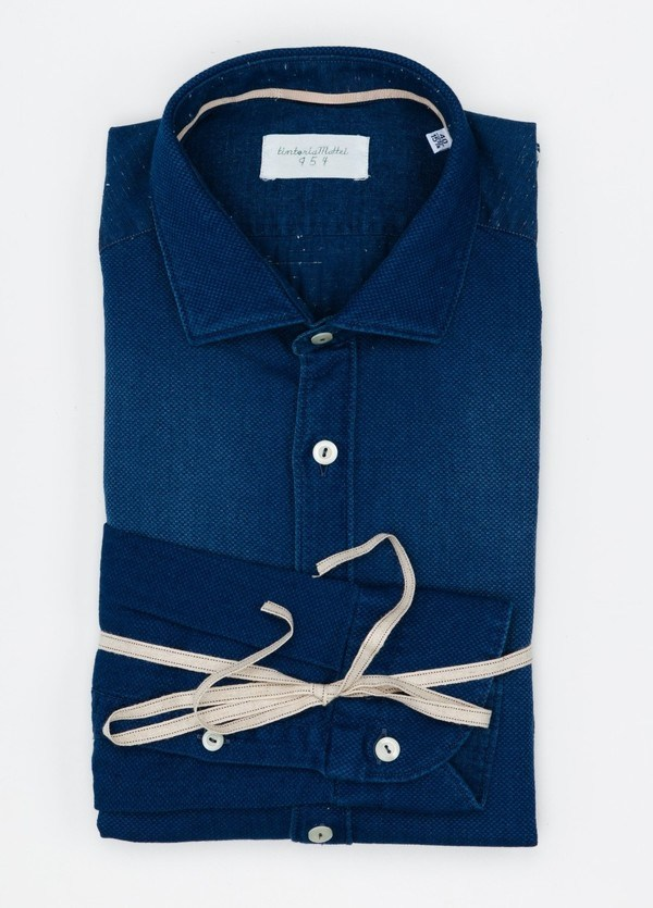 Camisa Sport lisa color azul indigo, SLIM FIT, 100% Algodón.