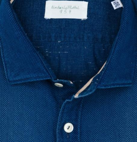 Camisa Sport lisa color azul indigo, SLIM FIT, 100% Algodón. - Ítem1