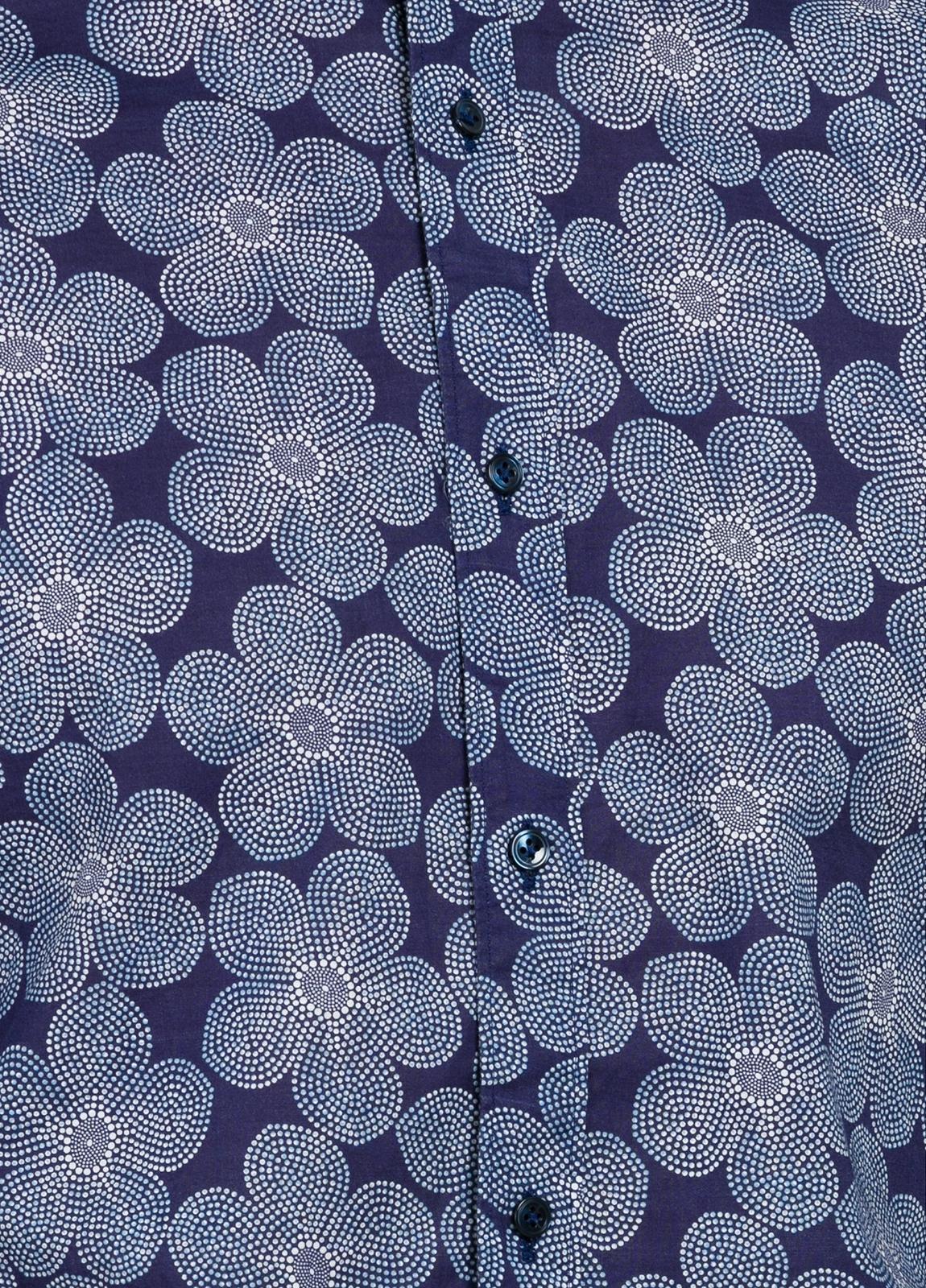 Camisa sport SLIM FIT modelo MAO JAPAN maxi estampado floral y cuello mao, 100% Algodón. - Ítem1