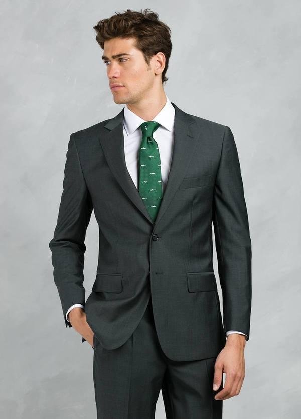 Traje liso SLIM FIT, tejido GUABELLO, color gris marengo, 100% Lana fría.