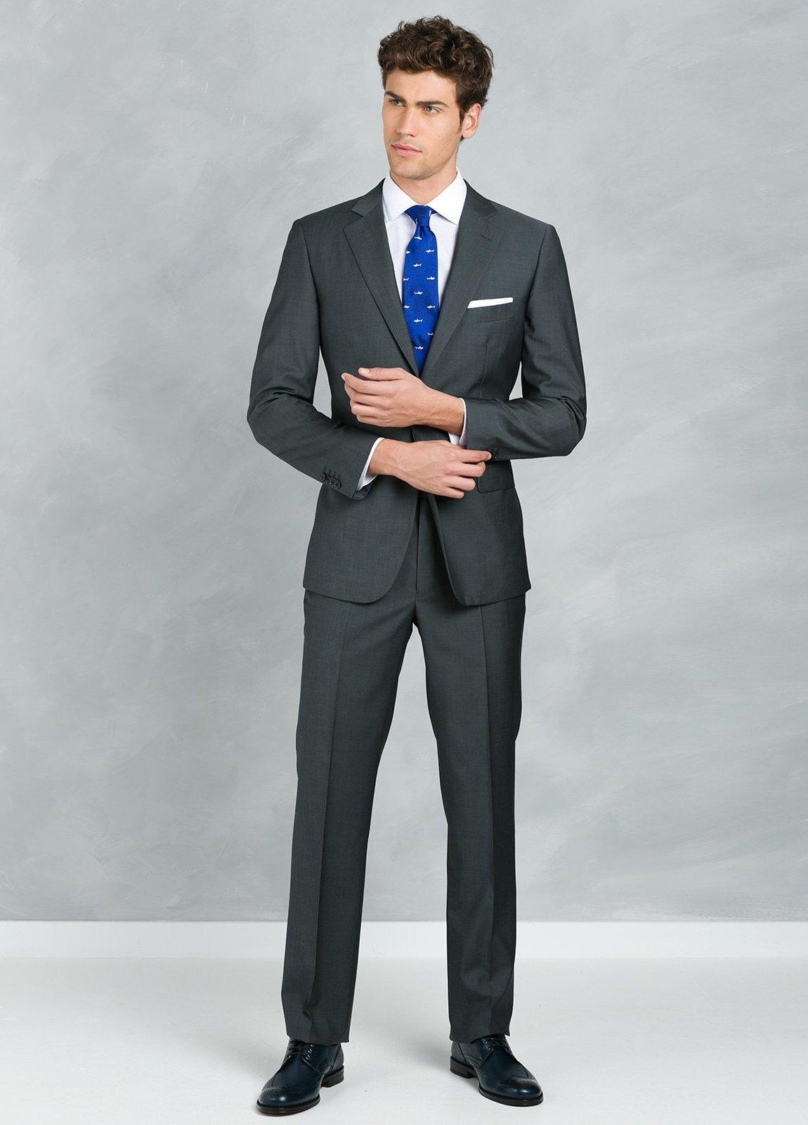 Traje liso REGULAR FIT, tejido GUABELLO, color gris, 100% Lana fría.