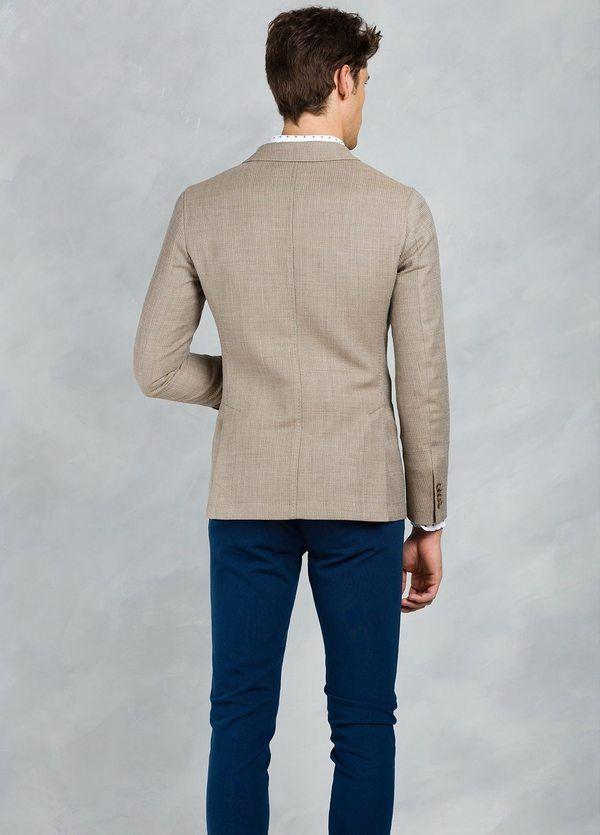 Americana SOFT JACKET Slim Fit textura color tostado, 100% Lana fria. - Ítem3