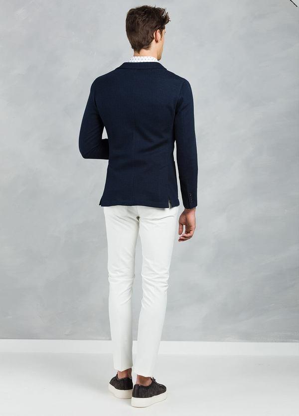Americana SOFT JACKET Slim Fit textura color azul marino, 100% Algodón. - Ítem3