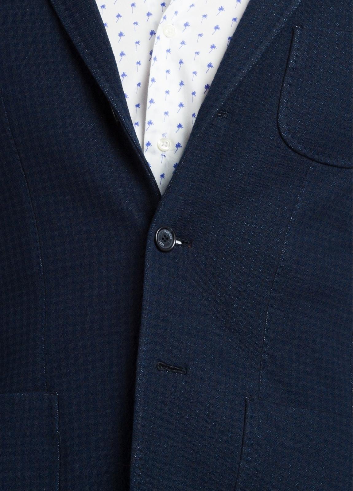 Americana SOFT JACKET Slim Fit textura color azul marino, 100% Algodón. - Ítem2