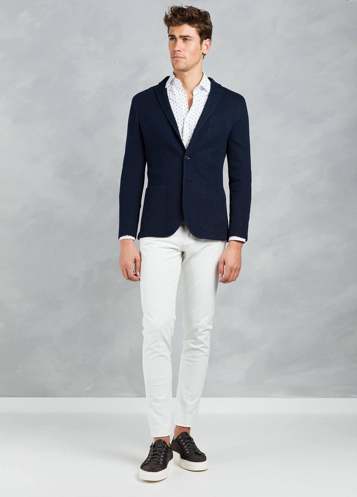 Americana SOFT JACKET Slim Fit textura color azul marino, 100% Algodón. - Ítem1