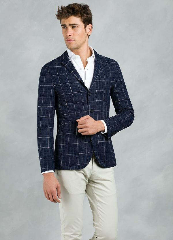 Americana SOFT JACKET Slim Fit con diseño cuadro ventana color azul, 90% Viscosa 5% Lino 5% Algodón. - Ítem1