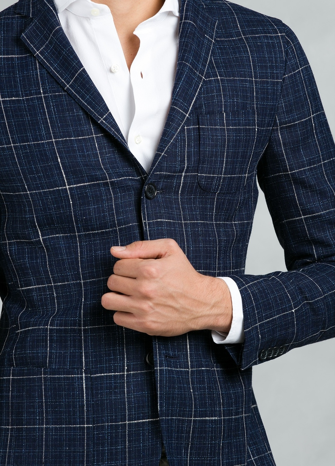 Americana SOFT JACKET Slim Fit con diseño cuadro ventana color azul, 90% Viscosa 5% Lino 5% Algodón. - Ítem2